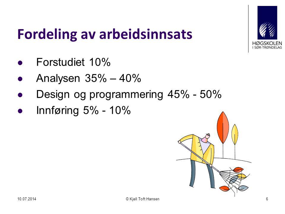Fordeling av arbeidsinnsats Forstudiet 10% Analysen 35% – 40% Design og programmering 45% - 50% Innføring 5% - 10% 10.07.2014© Kjell Toft Hansen6