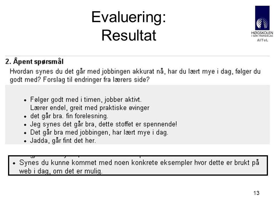 AITeL 13 Evaluering: Resultat