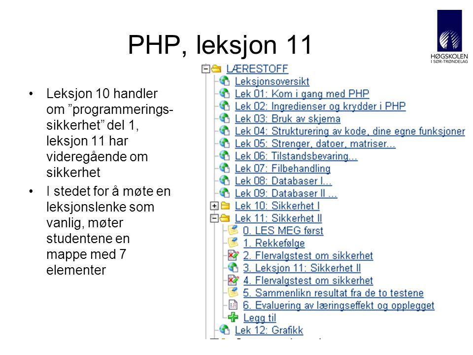 AITeL 32 PHP, leksjon 11 Leksjon 10 handler om programmerings- sikkerhet del 1, leksjon 11 har videregående om sikkerhet I stedet for å møte en leksjonslenke som vanlig, møter studentene en mappe med 7 elementer