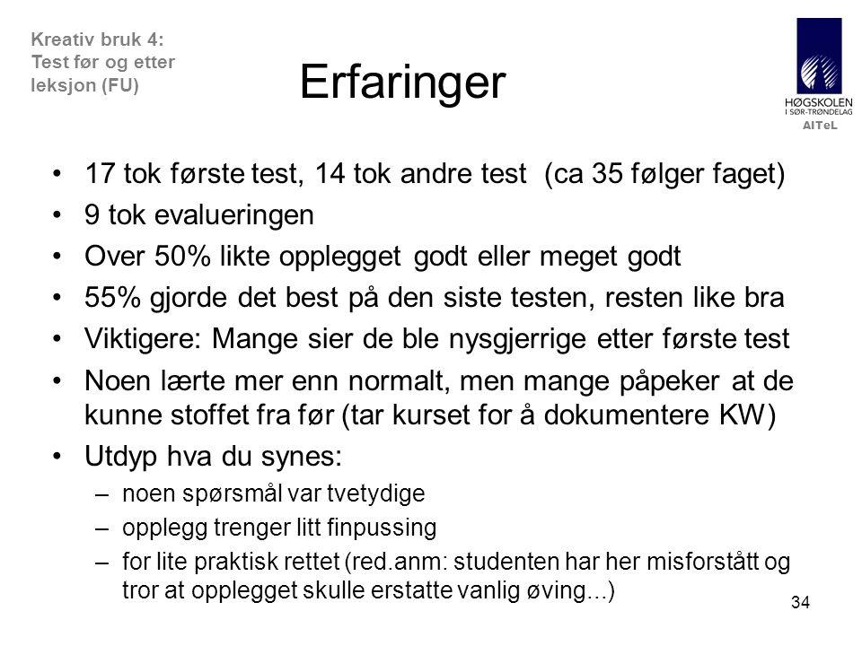 AITeL 34 Erfaringer 17 tok første test, 14 tok andre test (ca 35 følger faget) 9 tok evalueringen Over 50% likte opplegget godt eller meget godt 55% gjorde det best på den siste testen, resten like bra Viktigere: Mange sier de ble nysgjerrige etter første test Noen lærte mer enn normalt, men mange påpeker at de kunne stoffet fra før (tar kurset for å dokumentere KW) Utdyp hva du synes: –noen spørsmål var tvetydige –opplegg trenger litt finpussing –for lite praktisk rettet (red.anm: studenten har her misforstått og tror at opplegget skulle erstatte vanlig øving...) Kreativ bruk 4: Test før og etter leksjon (FU)