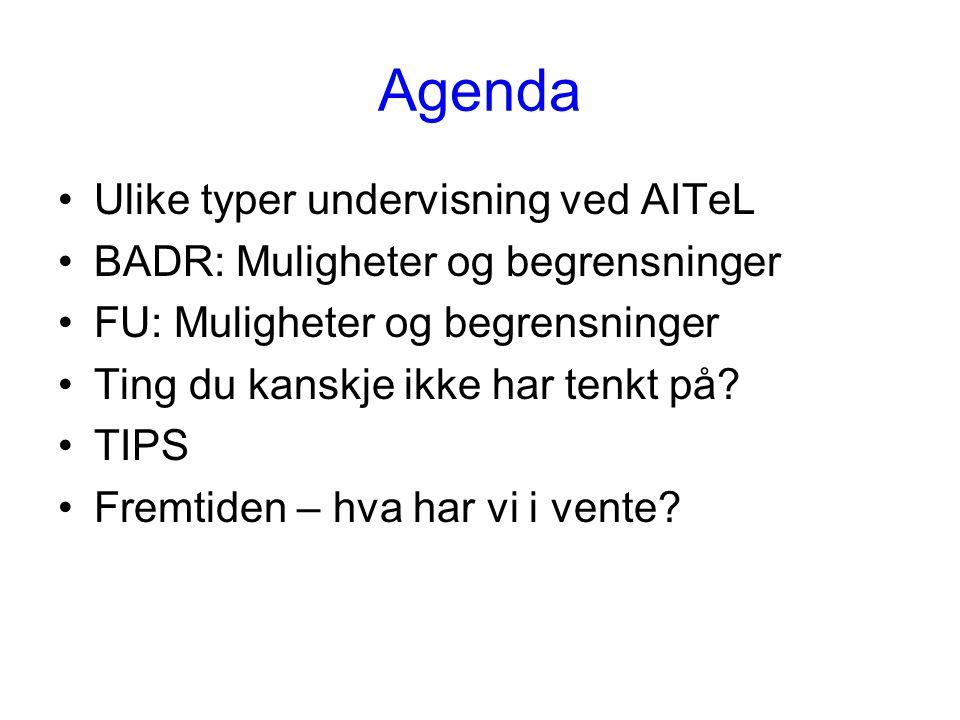 Agenda Ulike typer undervisning ved AITeL BADR: Muligheter og begrensninger FU: Muligheter og begrensninger Ting du kanskje ikke har tenkt på.