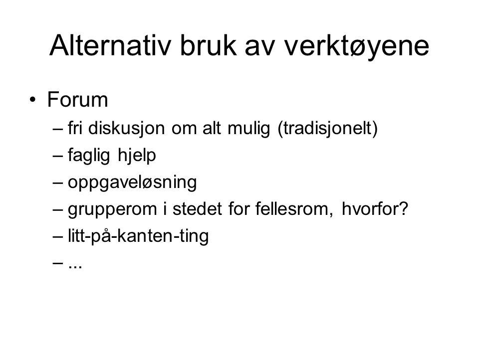Alternativ bruk av verktøyene Forum –fri diskusjon om alt mulig (tradisjonelt) –faglig hjelp –oppgaveløsning –grupperom i stedet for fellesrom, hvorfor.
