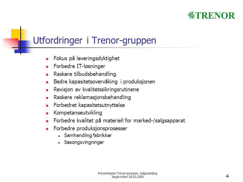Presentasjon Trenor-gruppen, Salgssamling Jægtvolden 26.03.2000 4 Utfordringer i Trenor-gruppen Fokus på leveringsdyktighet Forbedre IT-løsninger Rask