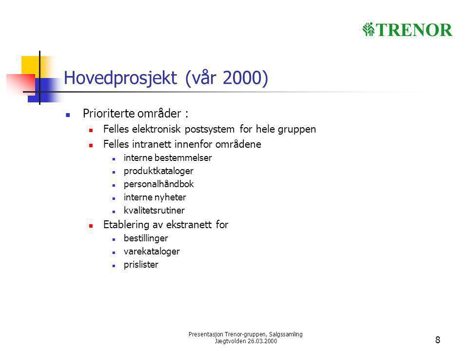 Presentasjon Trenor-gruppen, Salgssamling Jægtvolden 26.03.2000 8 Hovedprosjekt (vår 2000) Prioriterte områder : Felles elektronisk postsystem for hel