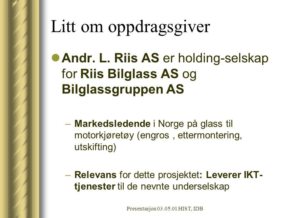 Presentasjon 03.05.01 HIST, IDB Litt om oppdragsgiver Andr.
