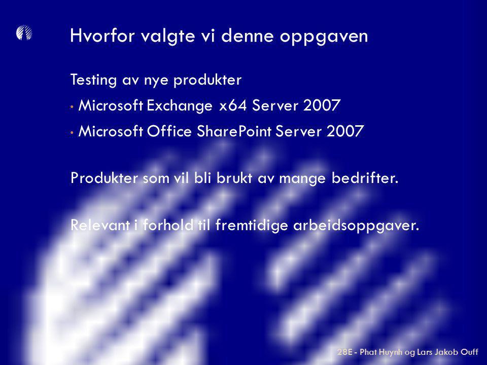 Testing av nye produkter Microsoft Exchange x64 Server 2007 Microsoft Office SharePoint Server 2007 Produkter som vil bli brukt av mange bedrifter. Re