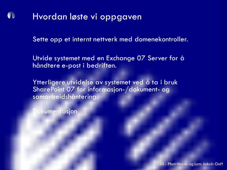 Sette opp et internt nettverk med domenekontroller. Utvide systemet med en Exchange 07 Server for å håndtere e-post i bedriften. Ytterligere utvidelse