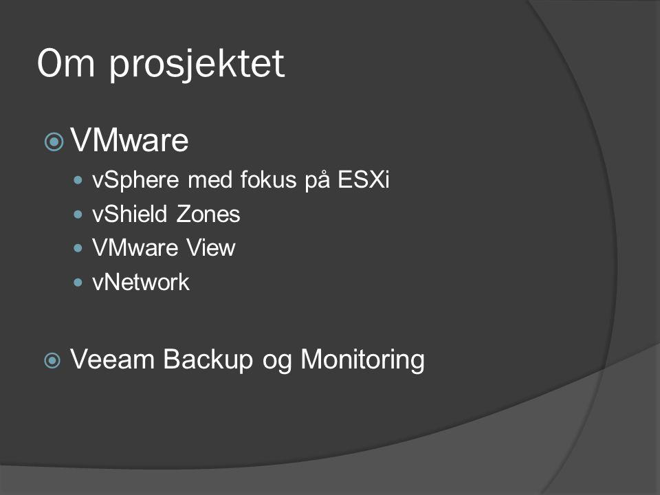 Om prosjektet  VMware vSphere med fokus på ESXi vShield Zones VMware View vNetwork  Veeam Backup og Monitoring