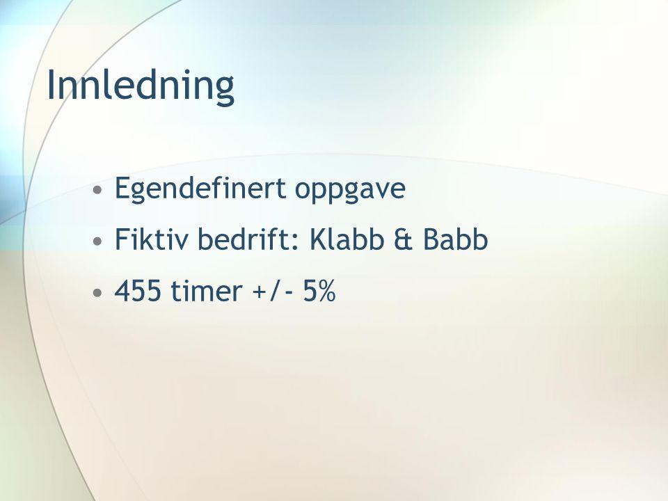 Innledning Egendefinert oppgave Fiktiv bedrift: Klabb & Babb 455 timer +/- 5%