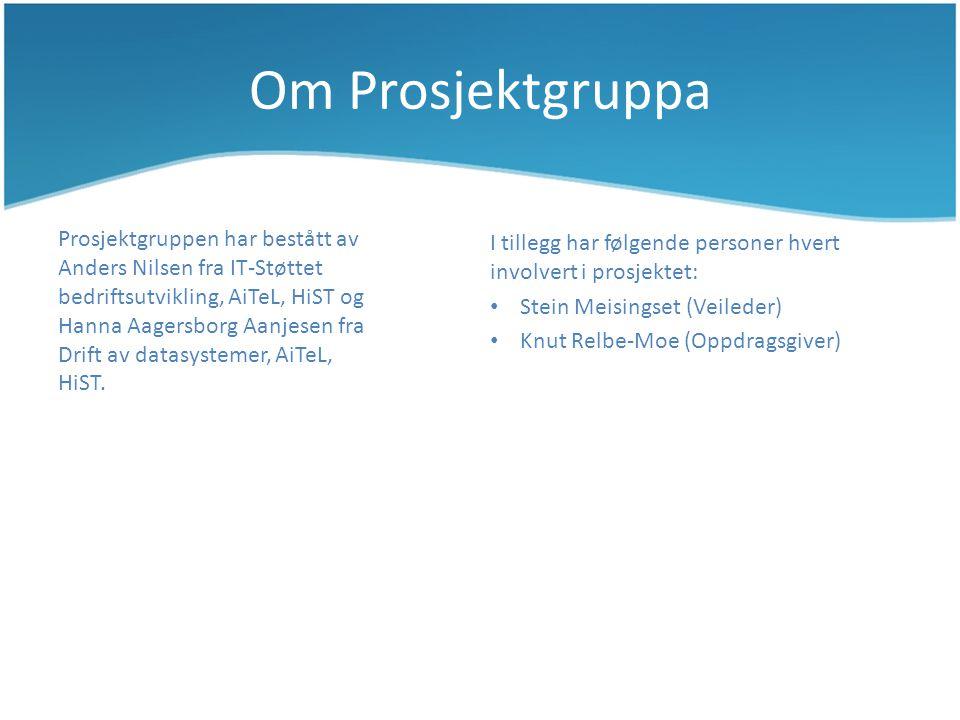 Om Prosjektgruppa Prosjektgruppen har bestått av Anders Nilsen fra IT-Støttet bedriftsutvikling, AiTeL, HiST og Hanna Aagersborg Aanjesen fra Drift av datasystemer, AiTeL, HiST.