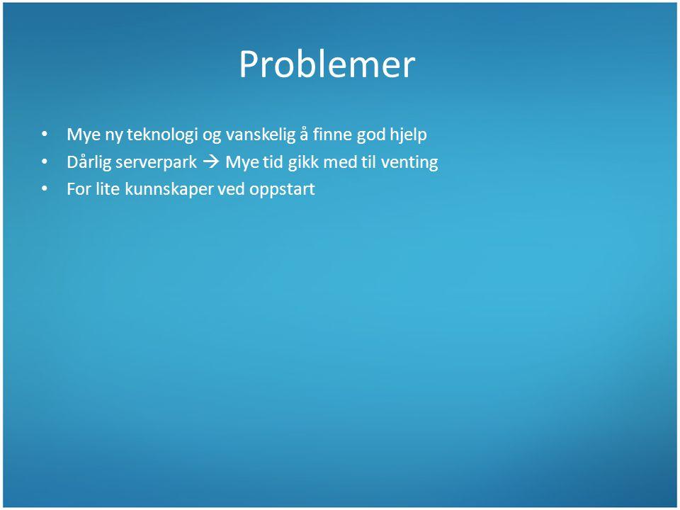 Problemer Mye ny teknologi og vanskelig å finne god hjelp Dårlig serverpark  Mye tid gikk med til venting For lite kunnskaper ved oppstart