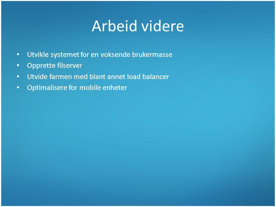 Arbeid videre Utvikle systemet for en voksende brukermasse Opprette filserver Utvide farmen med blant annet load balancer Optimalisere for mobile enheter