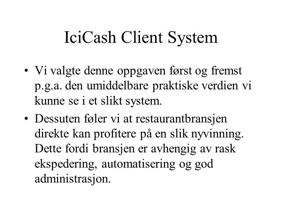 IciCash Client System Vår oppdragsgiver er Ici AS v/ Marius Moholdt Mål: lage et touch-screen betjeningssystem for restauranter I designprosessen har det blitt lagt vekt på enkelt og effektivt brukergrensesnitt.