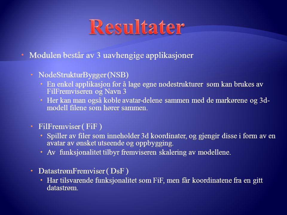  Modulen består av 3 uavhengige applikasjoner  NodeStrukturBygger (NSB)  En enkel applikasjon for å lage egne nodestrukturer som kan brukes av FilF