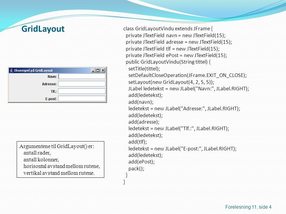 GridLayout class GridLayoutVindu extends JFrame { private JTextField navn = new JTextField(15); private JTextField adresse = new JTextField(15); private JTextField tlf = new JTextField(15); private JTextField ePost = new JTextField(15); public GridLayoutVindu(String tittel) { setTitle(tittel); setDefaultCloseOperation(JFrame.EXIT_ON_CLOSE); setLayout(new GridLayout(4, 2, 5, 5)); JLabel ledetekst = new JLabel( Navn: , JLabel.RIGHT); add(ledetekst); add(navn); ledetekst = new JLabel( Adresse: , JLabel.RIGHT); add(ledetekst); add(adresse); ledetekst = new JLabel( Tlf.: , JLabel.RIGHT); add(ledetekst); add(tlf); ledetekst = new JLabel( E-post: , JLabel.RIGHT); add(ledetekst); add(ePost); pack(); } Argumentene til GridLayout() er: antall rader, antall kolonner, horisontal avstand mellom rutene, vertikal avstand mellom rutene.