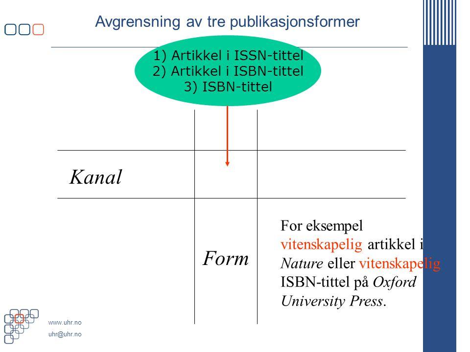 www.uhr.no uhr@uhr.no Avgrensning av tre publikasjonsformer Kanal Form For eksempel vitenskapelig artikkel i Nature eller vitenskapelig ISBN-tittel på