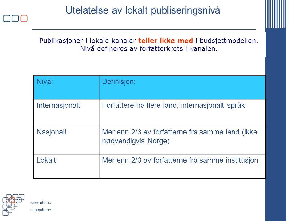 www.uhr.no uhr@uhr.no Utelatelse av lokalt publiseringsnivå Nivå:Definisjon: InternasjonaltForfattere fra flere land; internasjonalt språk NasjonaltMe