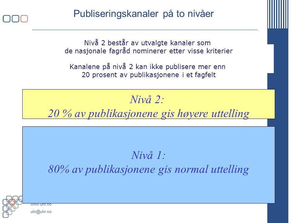 www.uhr.no uhr@uhr.no Publiseringskanaler på to nivåer Nivå 2: 20 % av publikasjonene gis høyere uttelling Nivå 1: 80% av publikasjonene gis normal ut