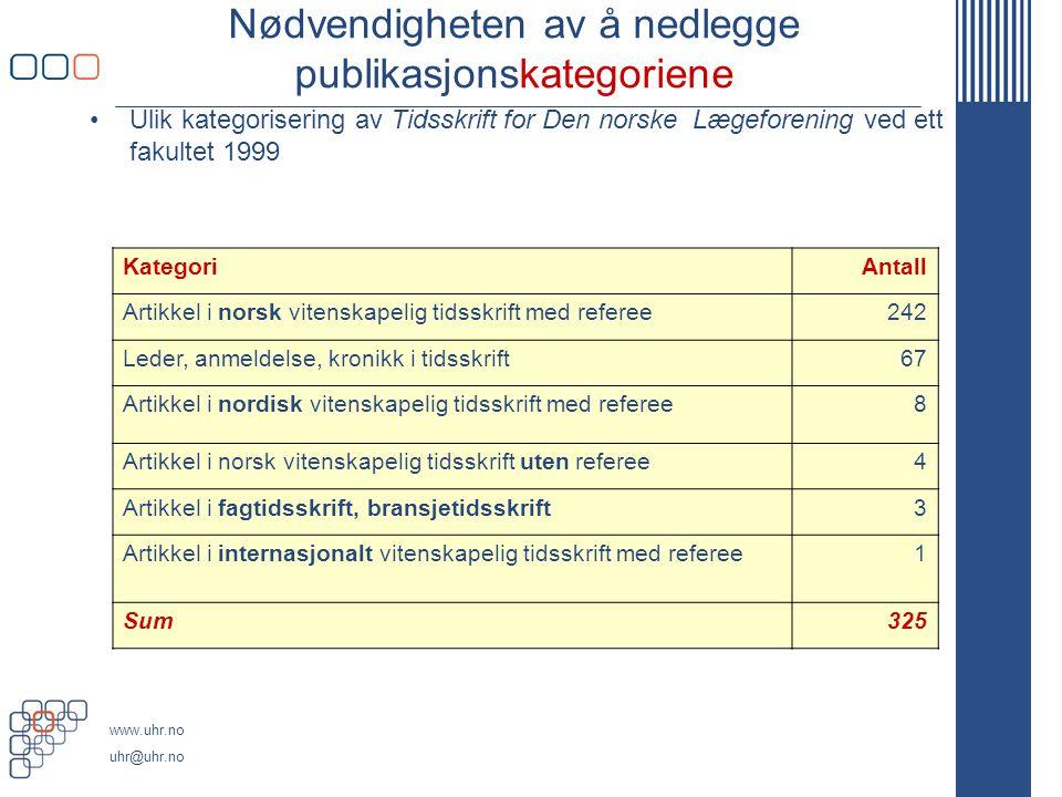 www.uhr.no uhr@uhr.no Nødvendigheten av å nedlegge publikasjonskategoriene Ulik kategorisering av Tidsskrift for Den norske Lægeforening ved ett fakul