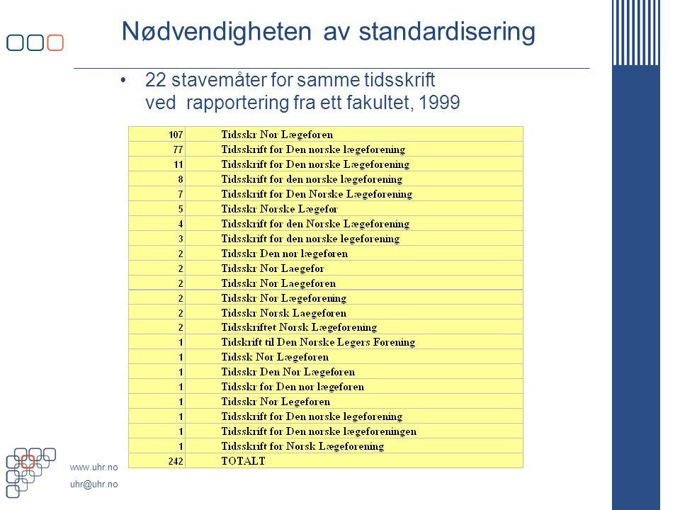www.uhr.no uhr@uhr.no Nødvendigheten av standardisering 22 stavemåter for samme tidsskrift ved rapportering fra ett fakultet, 1999