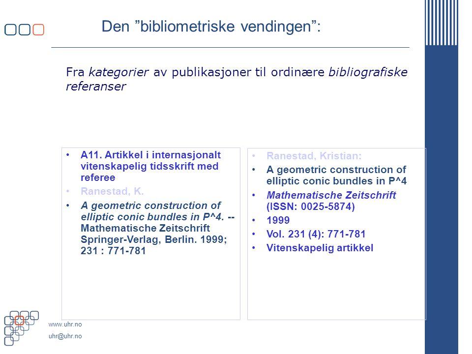 """www.uhr.no uhr@uhr.no Den """"bibliometriske vendingen"""": A11. Artikkel i internasjonalt vitenskapelig tidsskrift med referee Ranestad, K. A geometric con"""