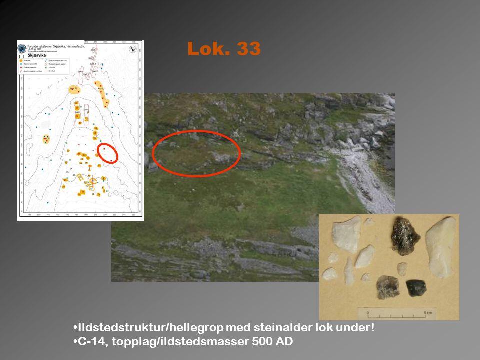 Lok. 33 Ildstedstruktur/hellegrop med steinalder lok under! C-14, topplag/ildstedsmasser 500 AD