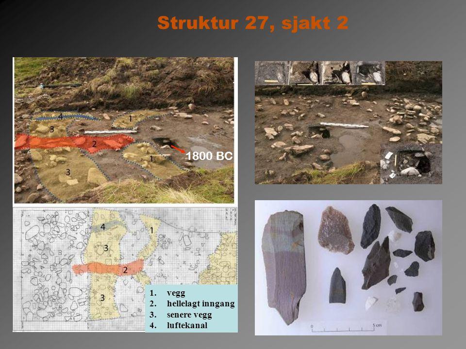 1.vegg 2.hellelagt inngang 3.senere vegg 4.luftekanal Struktur 27, sjakt 2 1800 BC