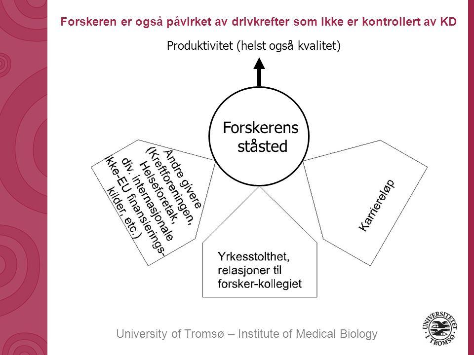 University of Tromsø – Institute of Medical Biology Produktivitet (helst også kvalitet) Forskerens ståsted Forskeren er også påvirket av drivkrefter som ikke er kontrollert av KD
