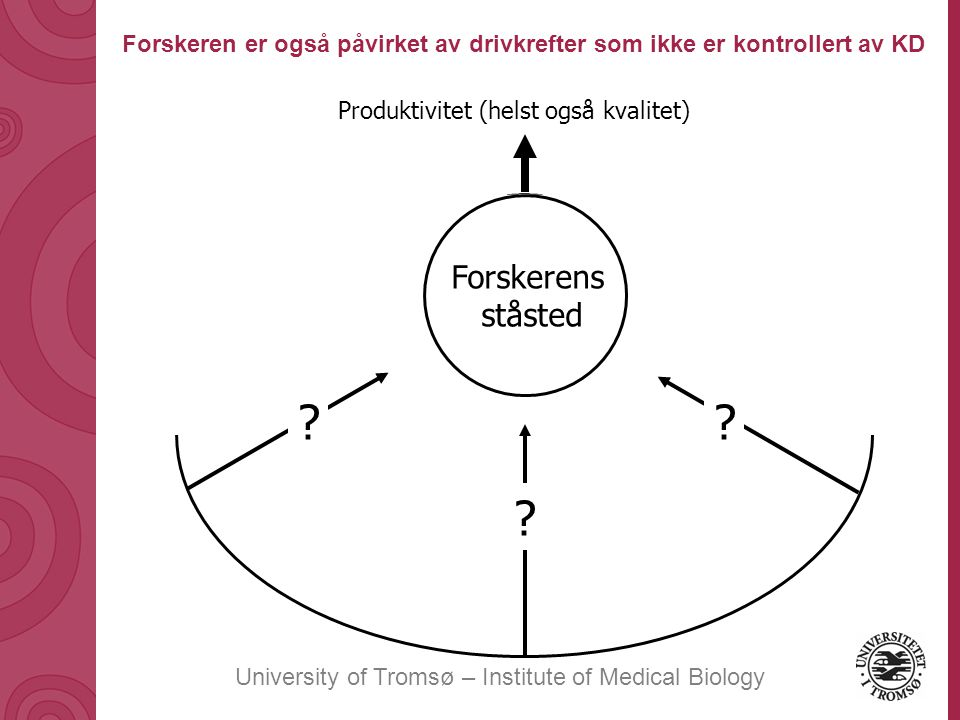 University of Tromsø – Institute of Medical Biology Produktivitet (helst også kvalitet) Forskeren er også påvirket av drivkrefter som ikke er kontrollert av KD Forskerens ståsted .