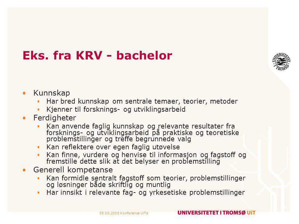 05.10.2010 Konferanse UiTø Eks. fra KRV - bachelor Kunnskap  Har bred kunnskap om sentrale temaer, teorier, metoder  Kjenner til forsknings- og utvi
