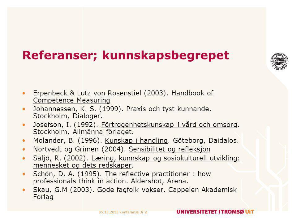 05.10.2010 Konferanse UiTø Referanser; kunnskapsbegrepet Erpenbeck & Lutz von Rosenstiel (2003). Handbook of Competence Measuring Johannessen, K. S. (