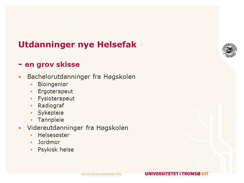 05.10.2010 Konferanse UiTø Utdanninger nye Helsefak - en grov skisse Bachelorutdanninger fra Høgskolen  Bioingeniør  Ergoterapeut  Fysioterapeut 