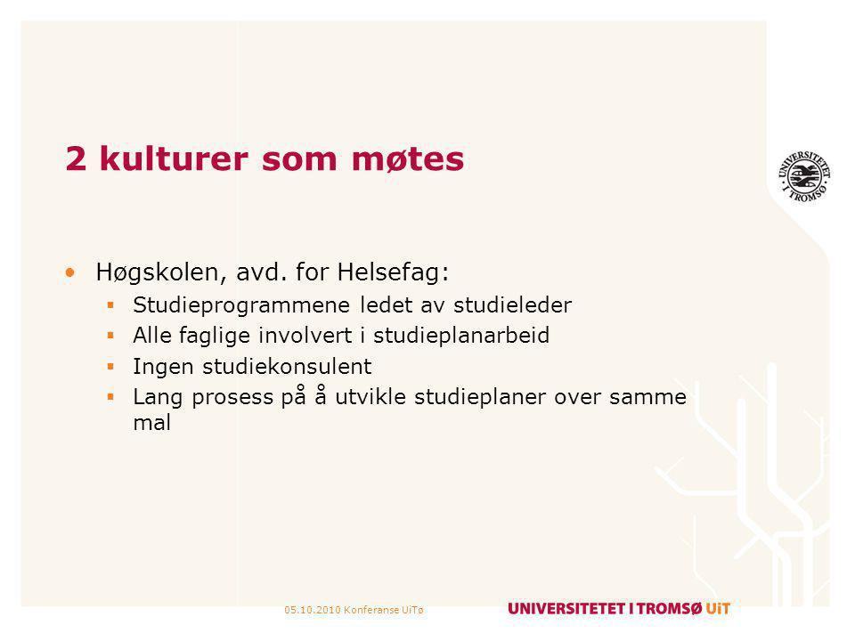 05.10.2010 Konferanse UiTø 2 kulturer som møtes Høgskolen, avd. for Helsefag:  Studieprogrammene ledet av studieleder  Alle faglige involvert i stud