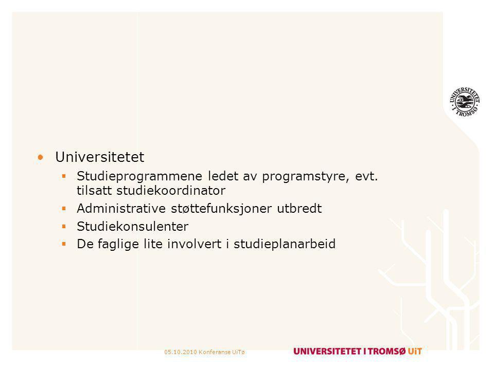 05.10.2010 Konferanse UiTø Universitetet  Studieprogrammene ledet av programstyre, evt. tilsatt studiekoordinator  Administrative støttefunksjoner u