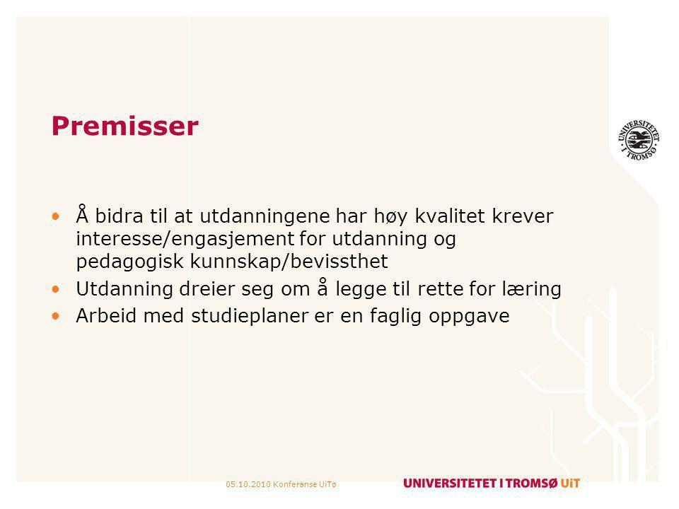05.10.2010 Konferanse UiTø Premisser Å bidra til at utdanningene har høy kvalitet krever interesse/engasjement for utdanning og pedagogisk kunnskap/be