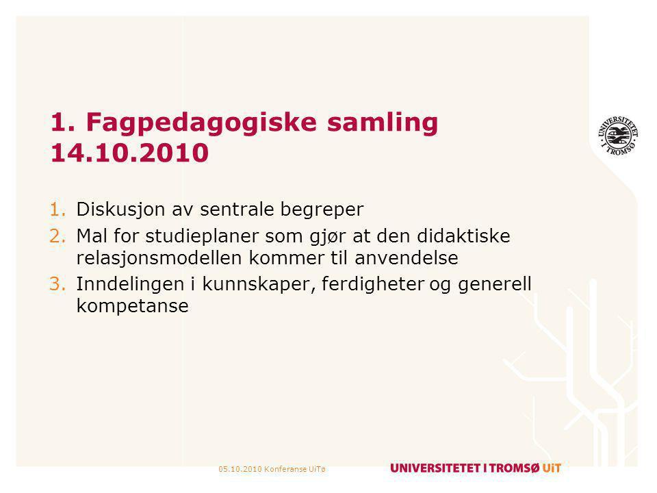 05.10.2010 Konferanse UiTø 1. Fagpedagogiske samling 14.10.2010 1.Diskusjon av sentrale begreper 2.Mal for studieplaner som gjør at den didaktiske rel