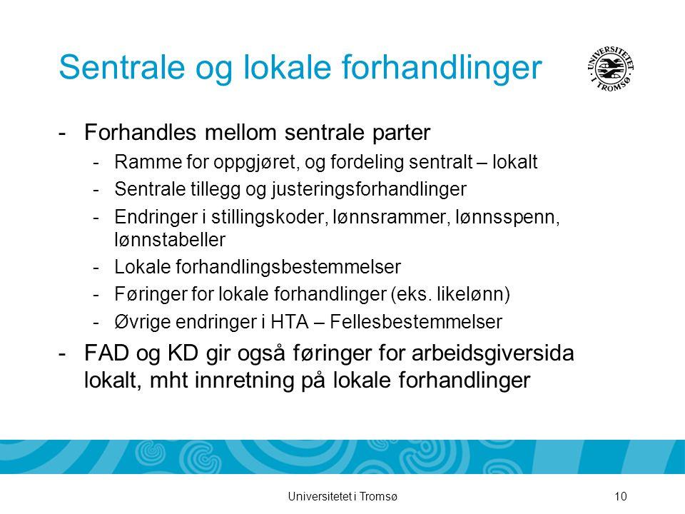 Universitetet i Tromsø10 Sentrale og lokale forhandlinger -Forhandles mellom sentrale parter -Ramme for oppgjøret, og fordeling sentralt – lokalt -Sen
