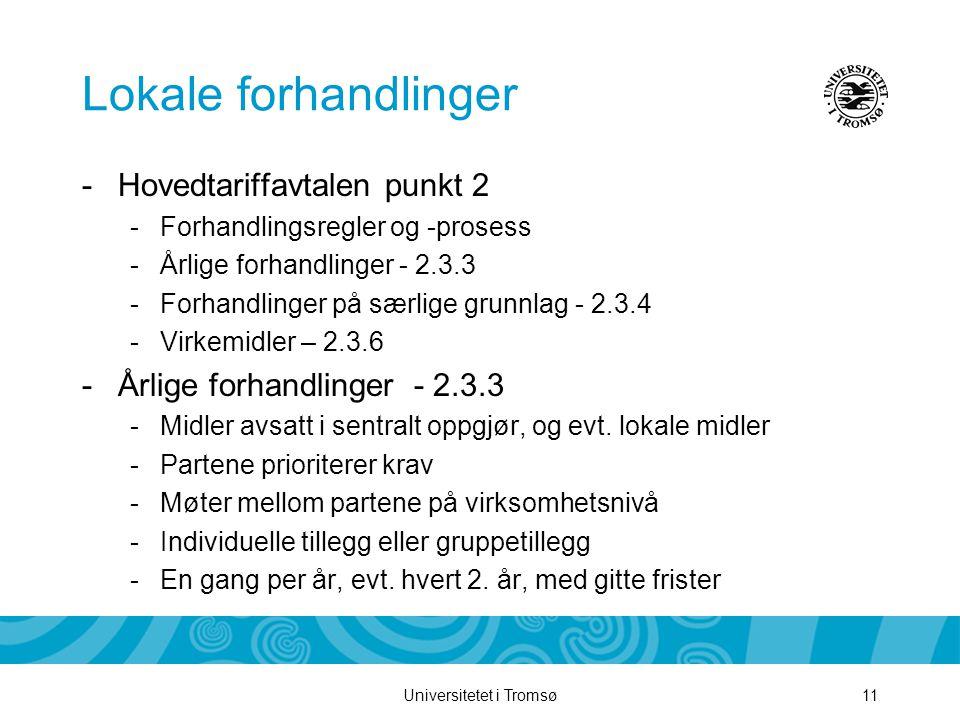 Universitetet i Tromsø11 Lokale forhandlinger -Hovedtariffavtalen punkt 2 -Forhandlingsregler og -prosess -Årlige forhandlinger - 2.3.3 -Forhandlinger