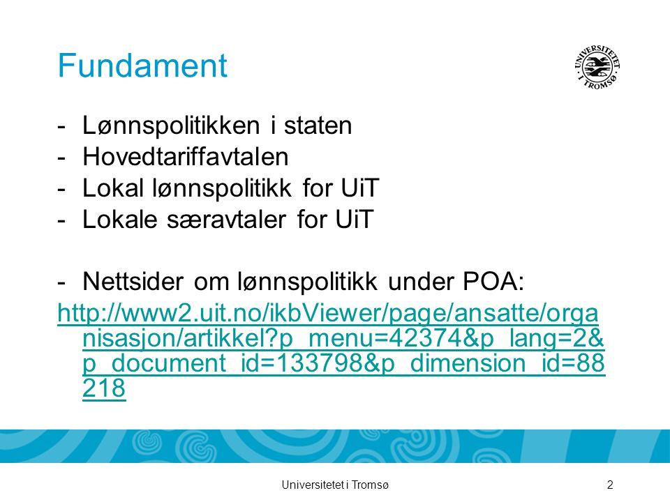 Universitetet i Tromsø2 Fundament -Lønnspolitikken i staten -Hovedtariffavtalen -Lokal lønnspolitikk for UiT -Lokale særavtaler for UiT -Nettsider om