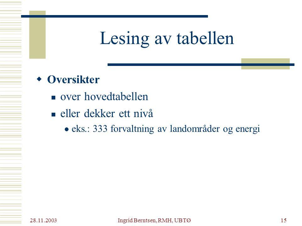 28.11.2003 Ingrid Berntsen, RMH, UBTØ15 Lesing av tabellen  Oversikter over hovedtabellen eller dekker ett nivå eks.: 333 forvaltning av landområder og energi
