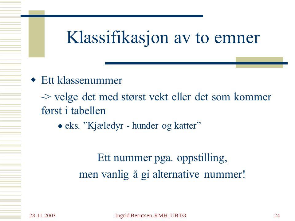 28.11.2003 Ingrid Berntsen, RMH, UBTØ24  Ett klassenummer -> velge det med størst vekt eller det som kommer først i tabellen eks.