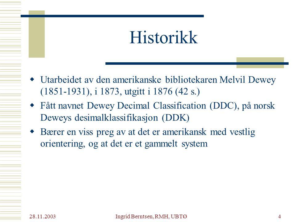 28.11.2003 Ingrid Berntsen, RMH, UBTØ5 Likevel er systemet er i bruk i mer enn 135 land og oversatt til over 30 språk.