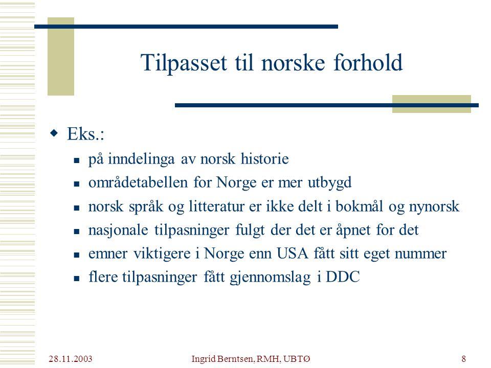 28.11.2003 Ingrid Berntsen, RMH, UBTØ39 Lenker til ressurser  Norsk komité for klassifikasjon og indeksering (NKKI) (http://www.nb.no/nkki/res.htm) Norsk komité for klassifikasjon og indeksering (NKKI)  BIBSYS emneregister (http://wgate.bibsys.no/search/pub?base=EREG) BIBSYS emneregister  DDC21 (http://www.oclc.org/dewey/) DDC21  Klassifikasjon og indeksering 1.