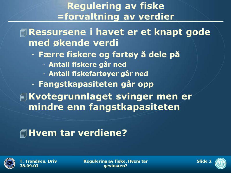 T. Trondsen, Driv 28.09.02 Regulering av fiske. Hvem tar gevinsten? Slide 2 Regulering av fiske =forvaltning av verdier 4Ressursene i havet er et knap