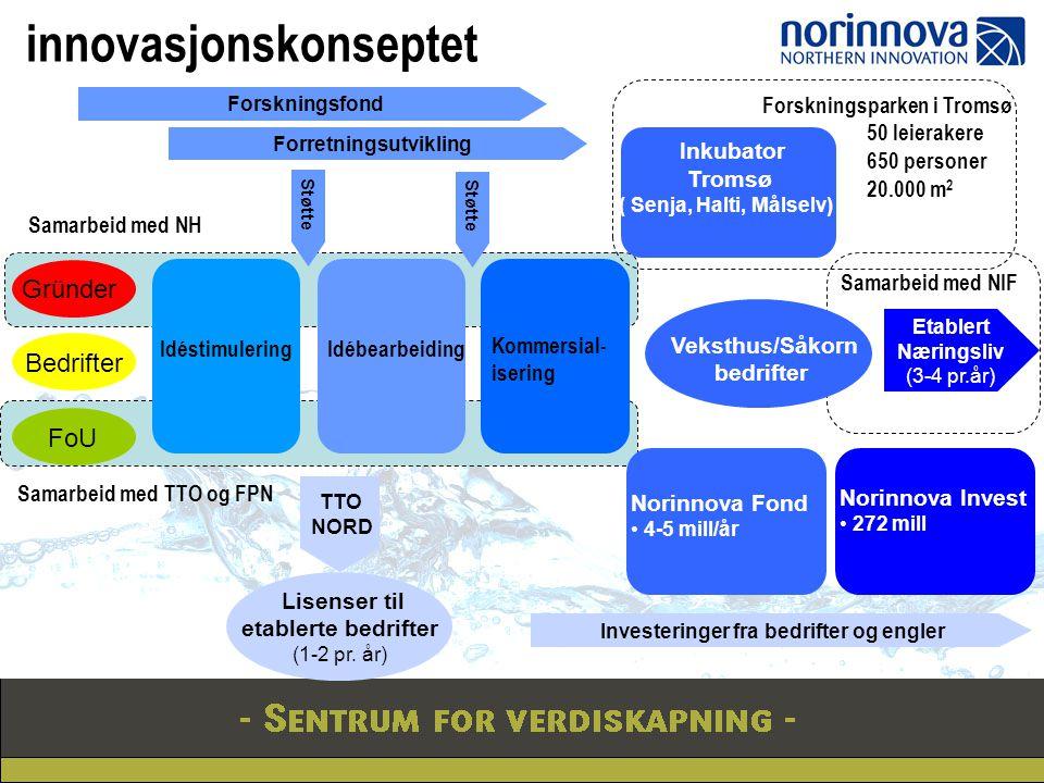 Etablert Næringsliv (3-4 pr.år) Forretningsutvikling Veksthus/Såkorn bedrifter Inkubator Tromsø ( Senja, Halti, Målselv) Forskningsparken i Tromsø 50