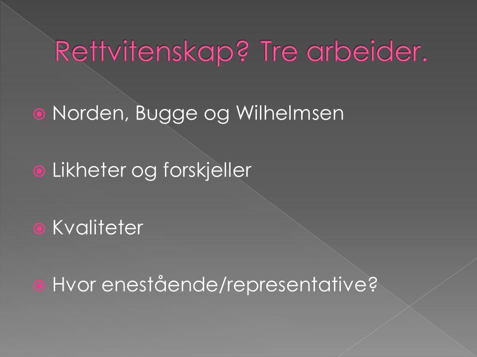  Norden, Bugge og Wilhelmsen  Likheter og forskjeller  Kvaliteter  Hvor enestående/representative