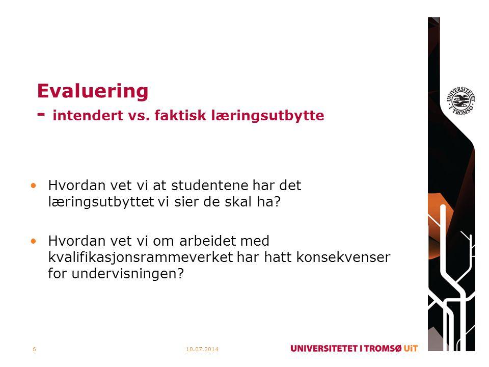 Evaluering Studentevalueringer Faglærerevalueringer Eksterne evalueringer Kandidatundersøkelser Forskningsprosjekter 10.07.20147