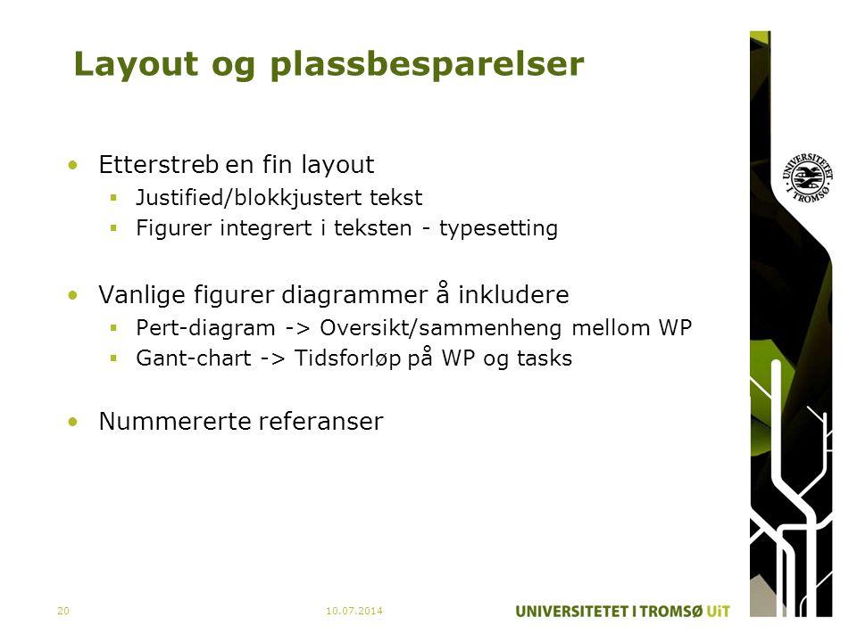 Layout og plassbesparelser Etterstreb en fin layout  Justified/blokkjustert tekst  Figurer integrert i teksten - typesetting Vanlige figurer diagram