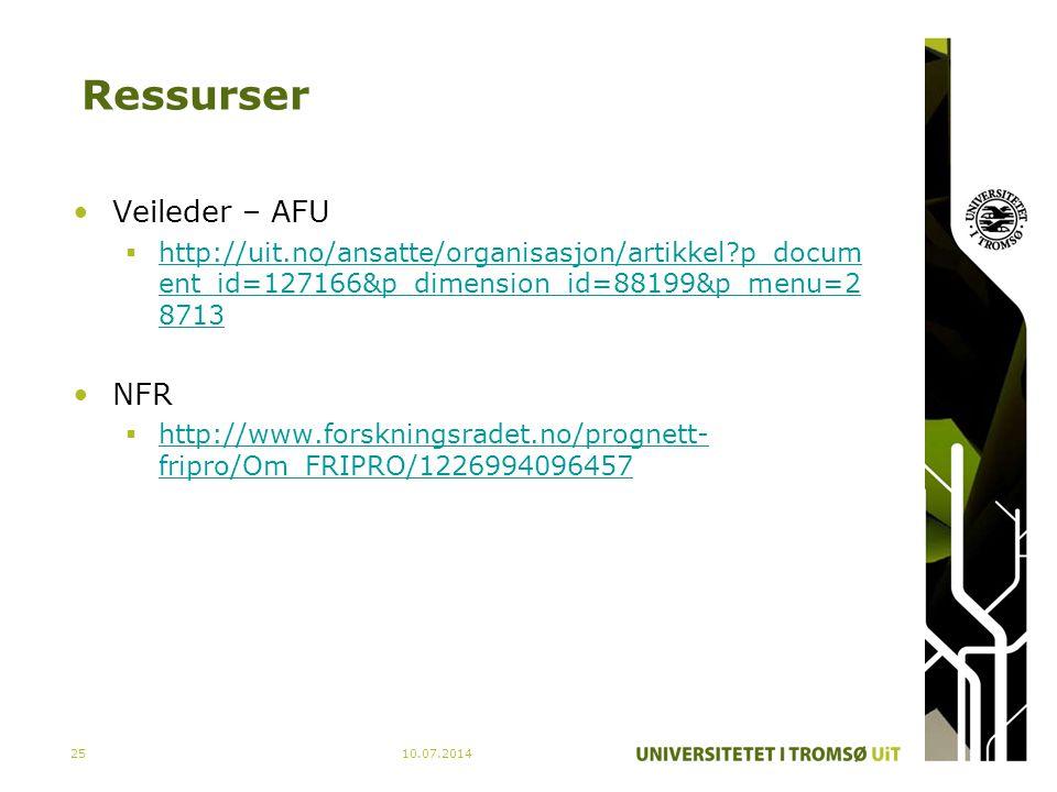 Ressurser Veileder – AFU  http://uit.no/ansatte/organisasjon/artikkel?p_docum ent_id=127166&p_dimension_id=88199&p_menu=2 8713 http://uit.no/ansatte/