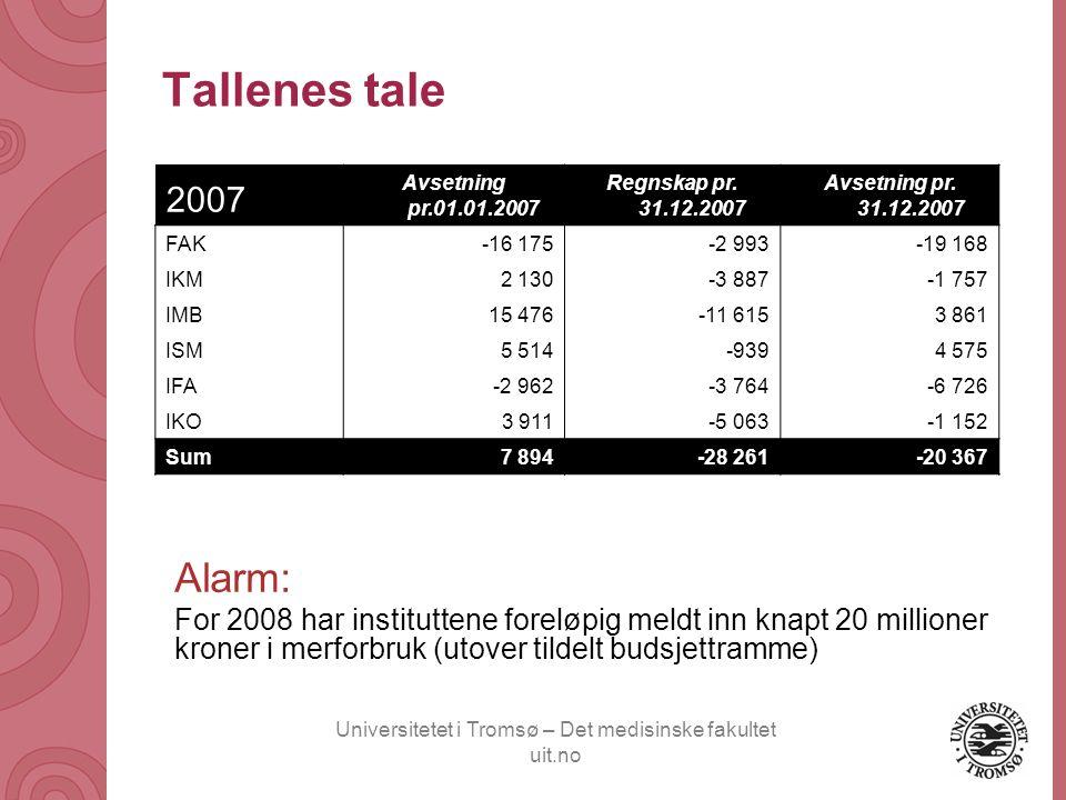 Universitetet i Tromsø – Det medisinske fakultet uit.no Tallenes tale 2007 Avsetning pr.01.01.2007 Regnskap pr. 31.12.2007 Avsetning pr. 31.12.2007 FA